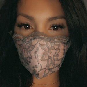 Blush Pink w/Grey Lace Face mask